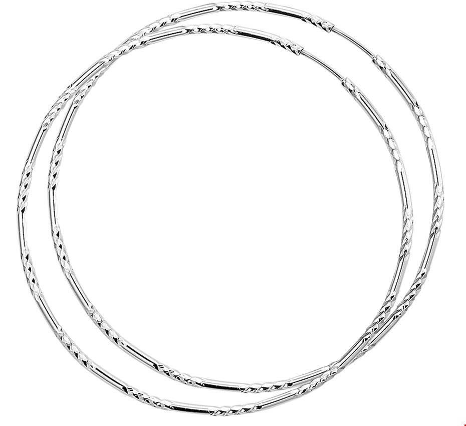TFT Creolen Gediamanteerd Zilver Gerhodineerd Gediamanteerd 1.5 mm x 52 mm