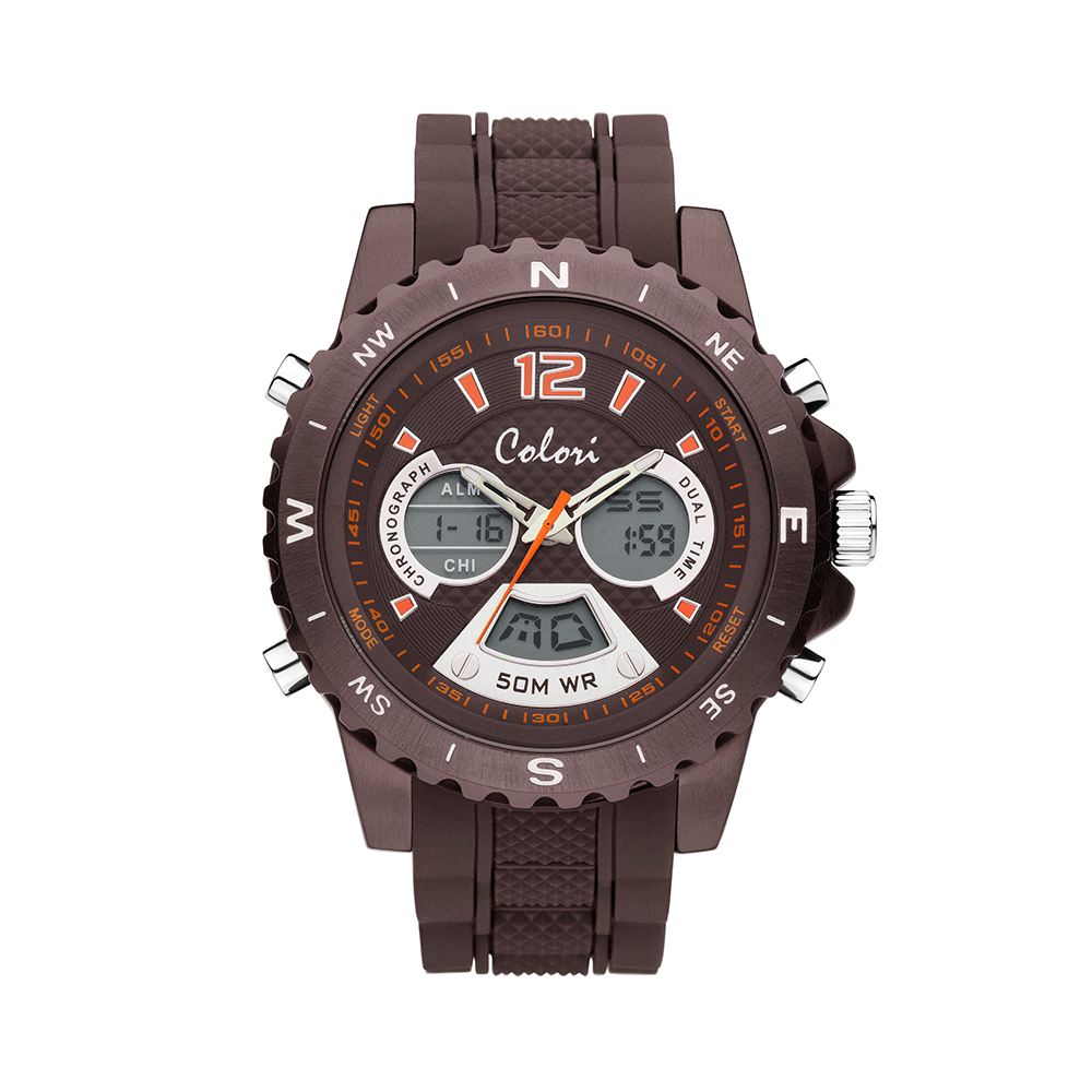 Image of Colori Continental 5 CLD110 Digitaal Horloge siliconen band bruin 52 mm 116664