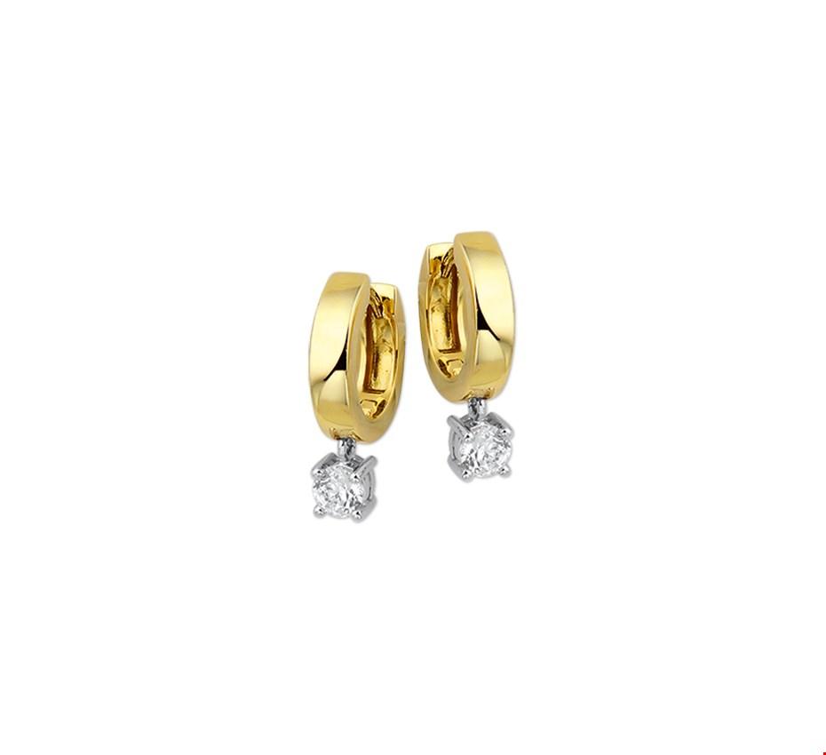 The Jewelry Collection Klapcreolen Zirkonia - Bicolor Goud