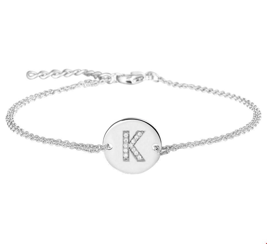 TFT Armband Zilver Letter K Zirkonia 1,2 mm 16,5 + 2,5 cm