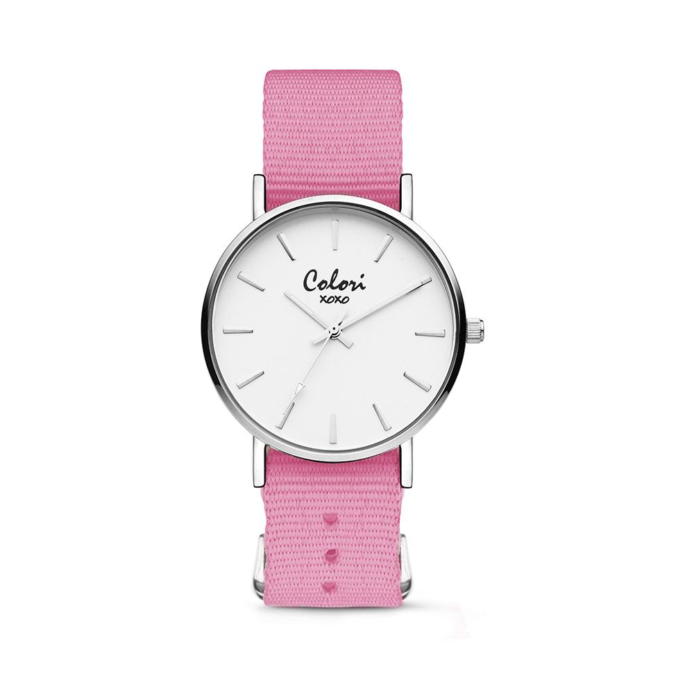 Colori XOXO 5 COL557 Horloge geschenkset met Armband - Nato Band - Ø 36 mm - Roze - Zilverkleurig