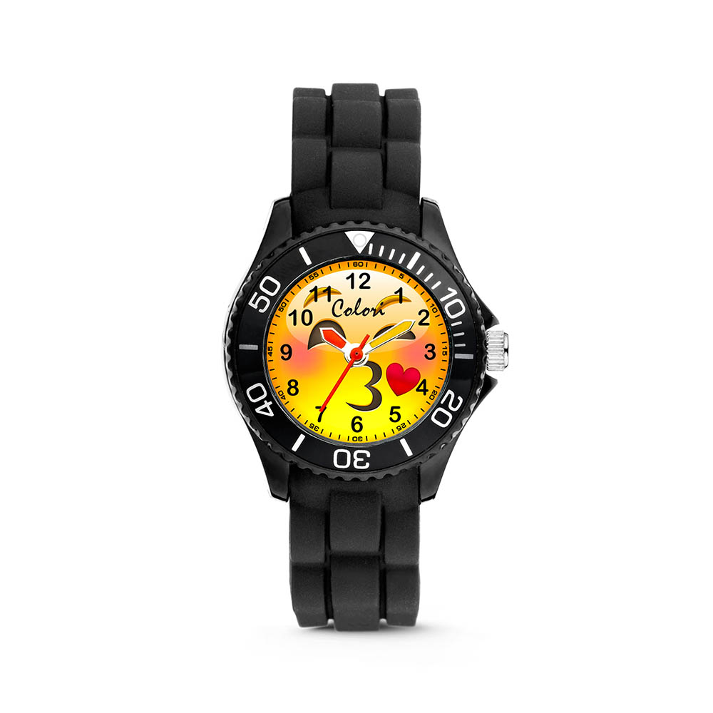 Colori kinderhorloge Happy Smile zwart 30 mm 5-CLK071