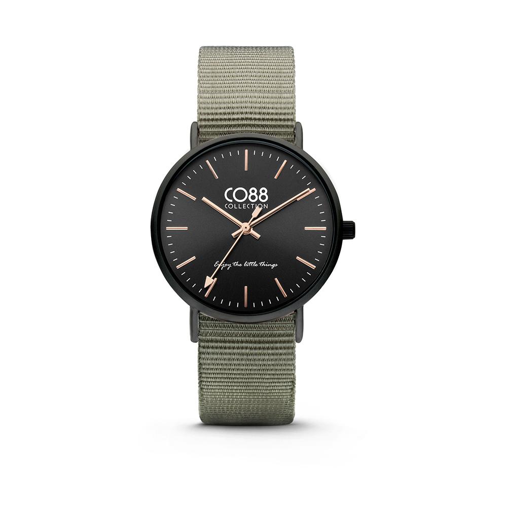 CO88 Horloge staal/nylon zwart/groen 36 mm 8CW-10037