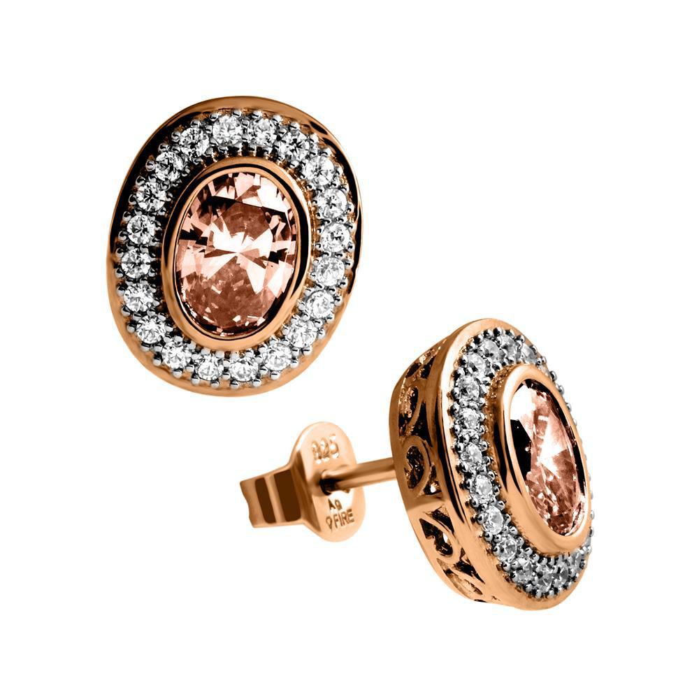 Zilveren Oorknoppen Fancy Colors Ovaal Bruin Ros-goud verguld 806.0235.00