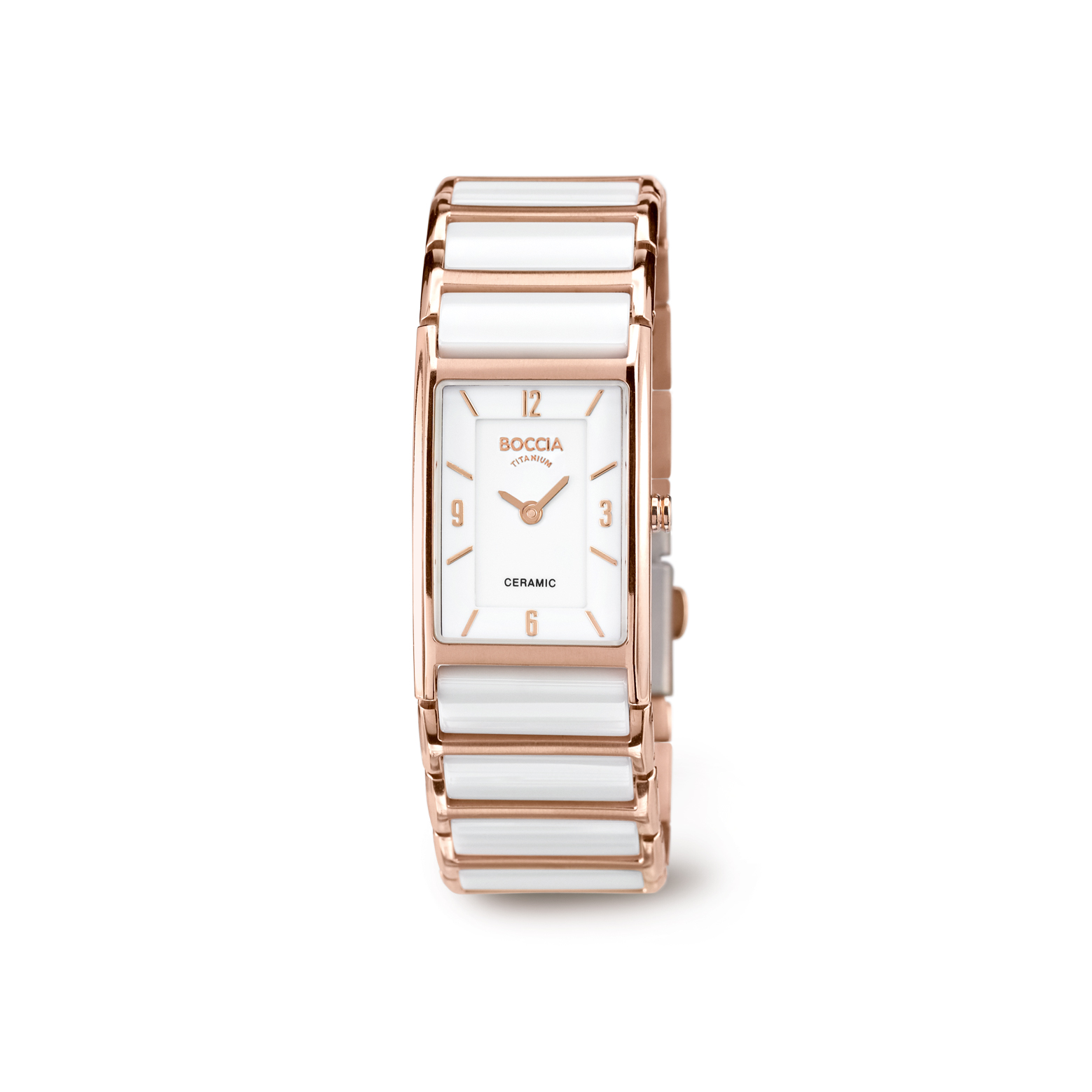 Boccia Titanium 3212.03 horloge Keramiek Wit en rosékleurig 21 mm