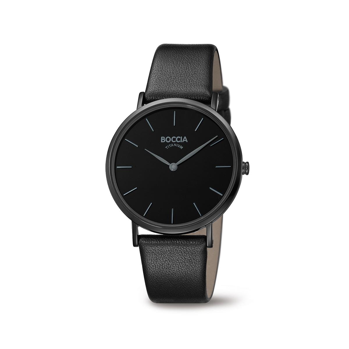 Boccia Titanium 3273.07 horloge Leer Zwart 36 mm