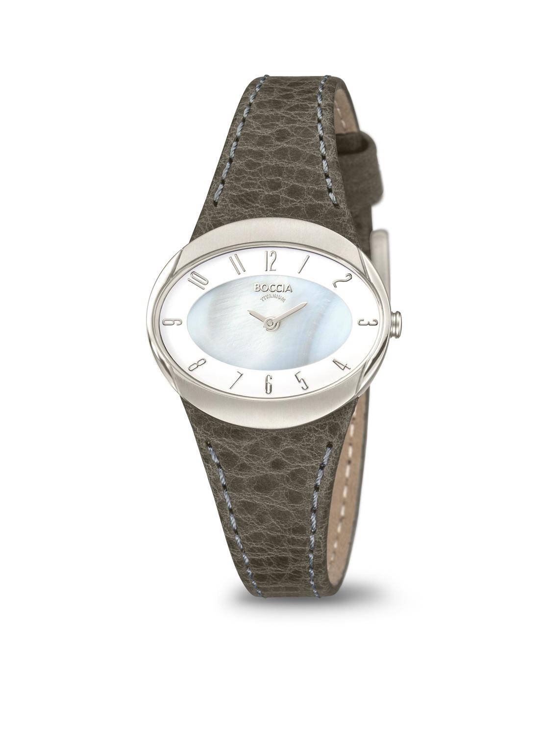 Boccia Titanium 3275.01 horloge Leer Grijs 32 mm
