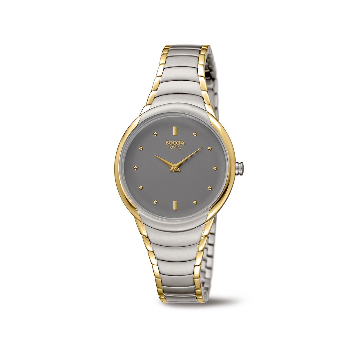Boccia Titanium 3276.13 horloge Staal Zilver en goudkleurig 32 mm