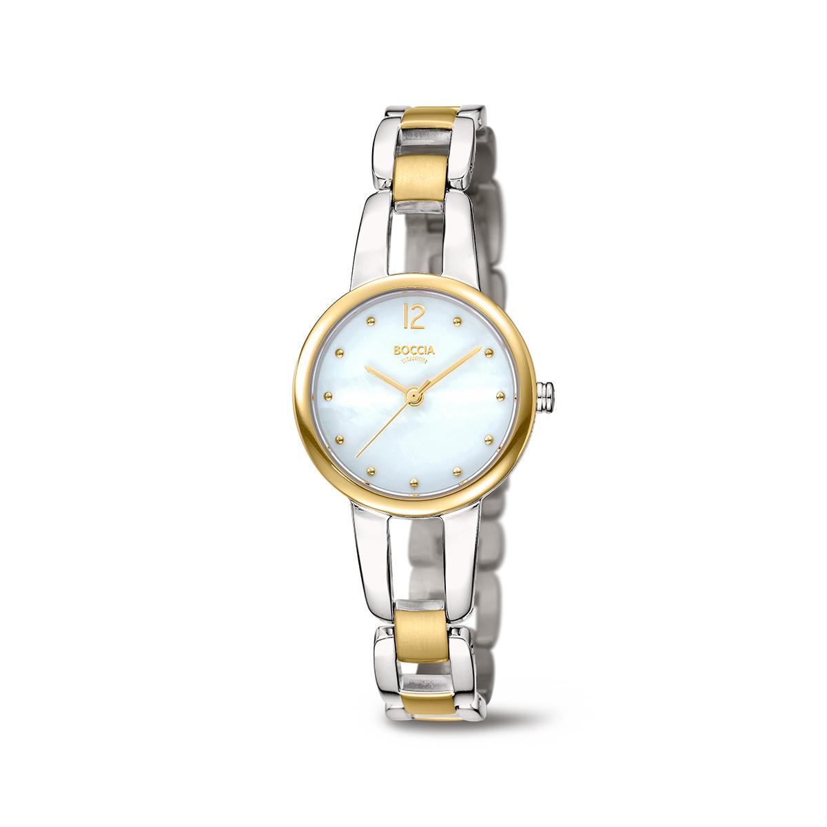 Boccia Titanium 3290.02 horloge Titanium Zilver en goudkleurig 28 mm