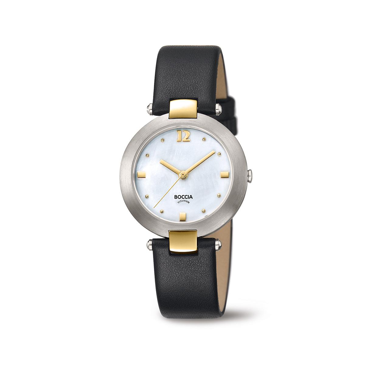 Boccia Titanium 3292.02 horloge Leer Zwart 32 mm