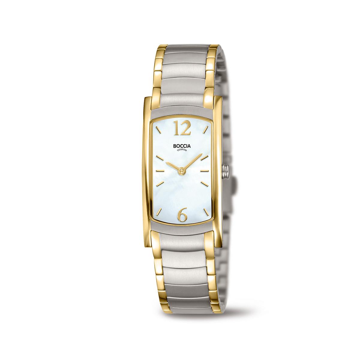 Boccia Titanium 3293.02 horloge Titanium Zilver en goudkleurig 32 mm