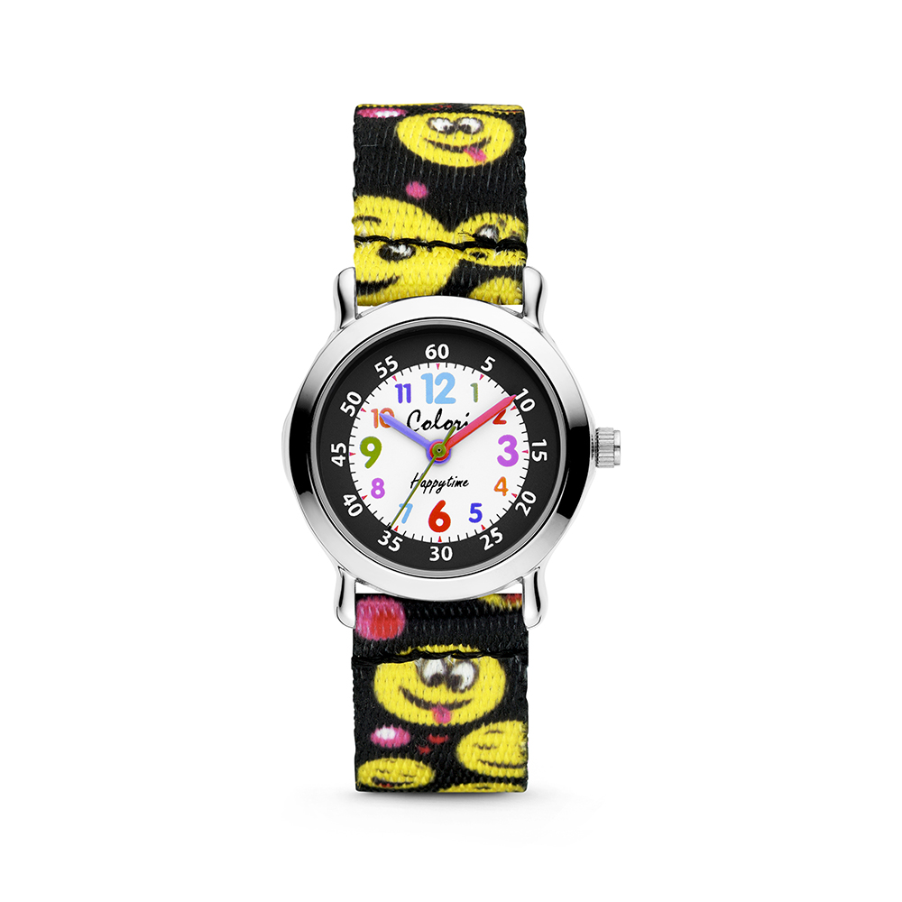 Colori Kidz 5 CLK106 Kinderhorloge met Smiley Emoticons - Kunststof Band - Ø 27 mm - Zwart - Multik