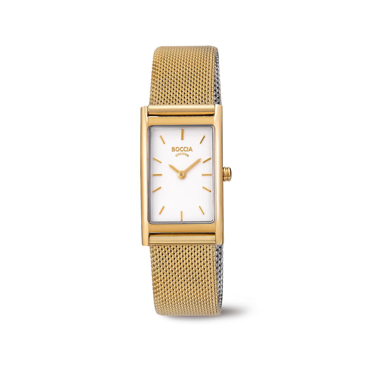 Boccia Ttanium 3304.03 horloge Staal Goudkleurig 34 mm