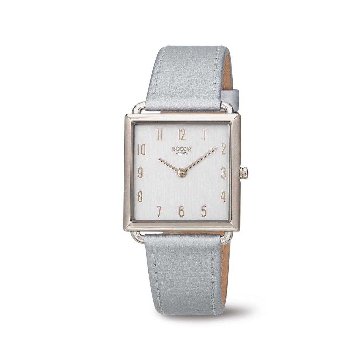 Boccia Titanium 3305.01 horloge Leer Zilverkleurig 29 mm