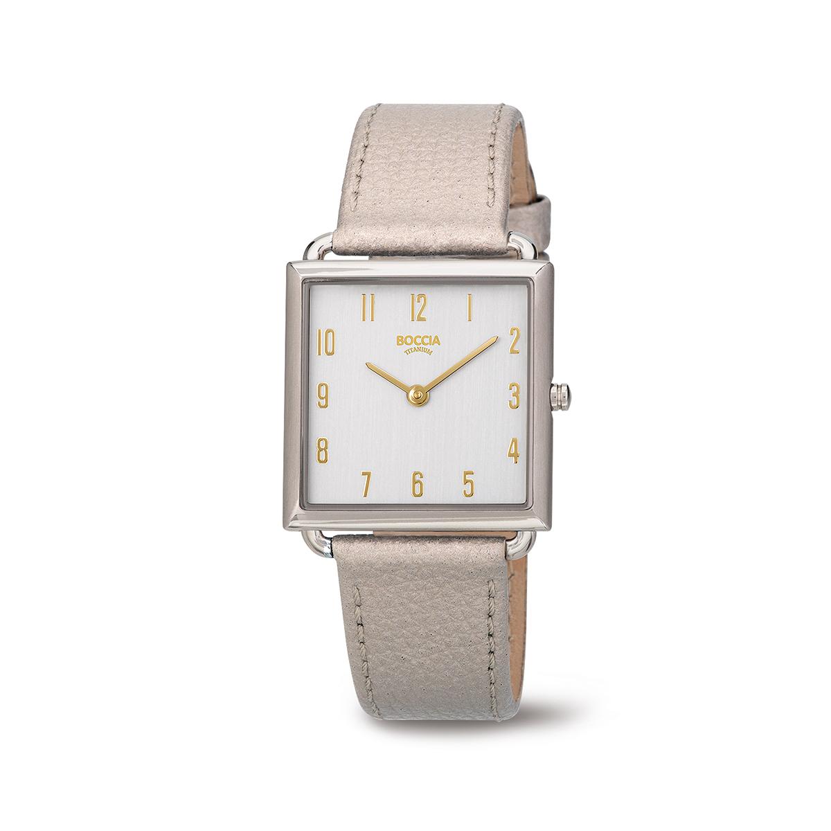 Boccia Titanium 3305.02 horloge Leer Beige 29 mm