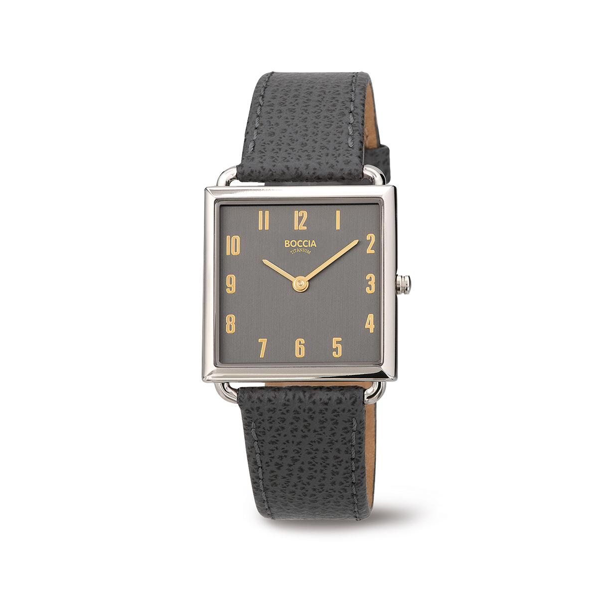 Boccia Ttanium 3305.03 horloge Leer Grijs 29 mm
