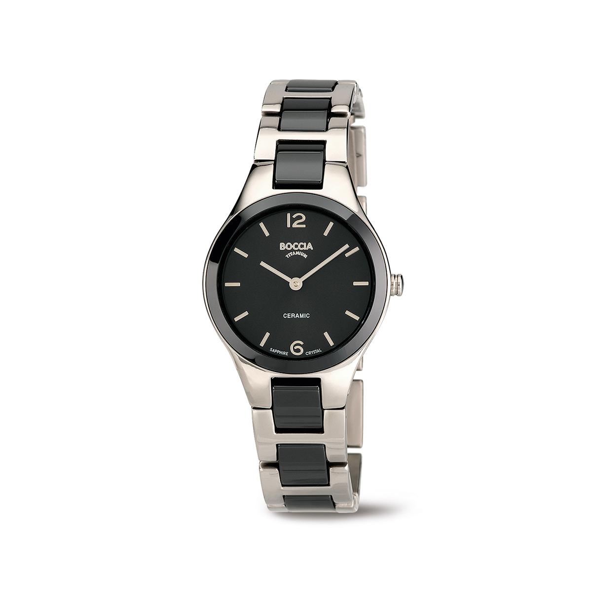 Boccia Ttanium 3306.02 horloge Keramiek Zwart en zilverkleurig 29 mm