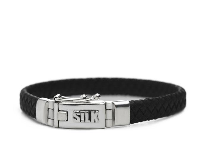 Silk Jewellery 835BLK-19 Armband zilver en leer lengte 19 cm