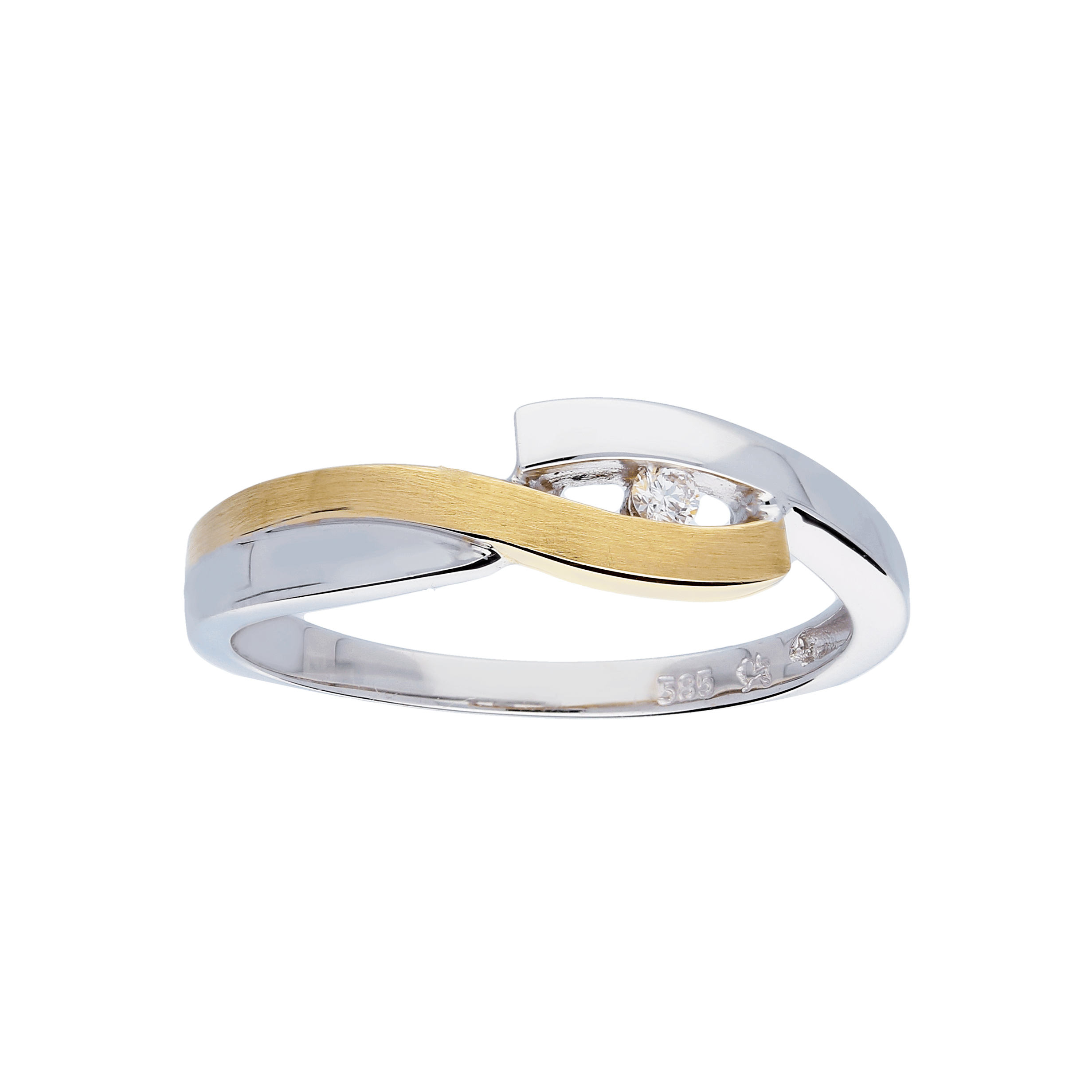 Glow Gouden Ring Bicolor Mat Glanzend Diamant 1 0.03ct G si 214.5215.52
