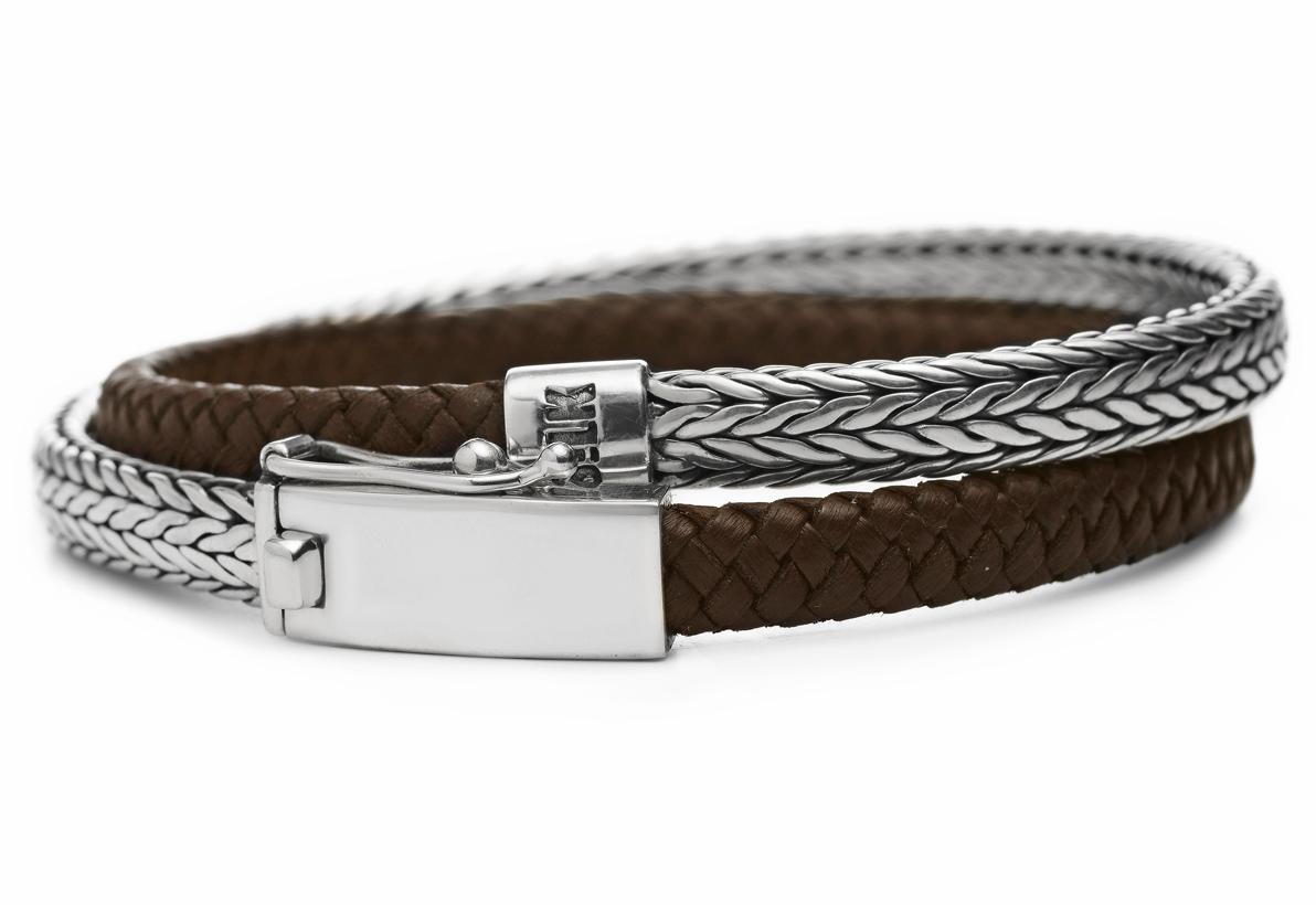SILK Jewellery Armband zilver-leder bruin 'Shiva' 19 cm 344BRN