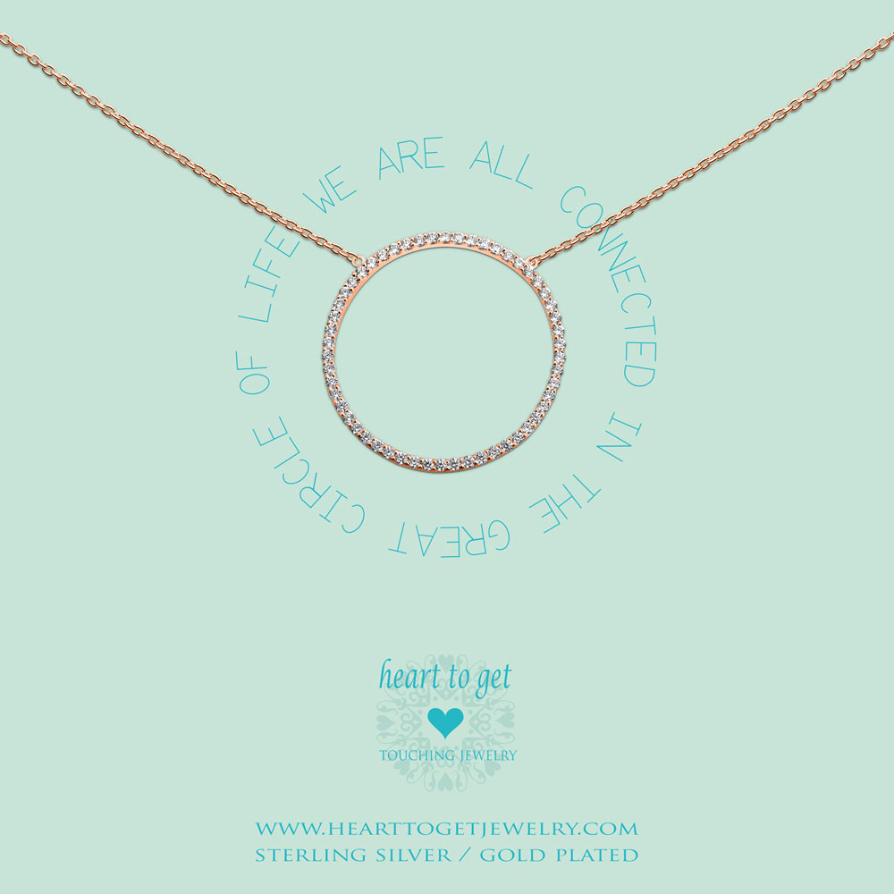 Heart to get N231KZB14R we are all connected in the great circle of life ketting rose verguld