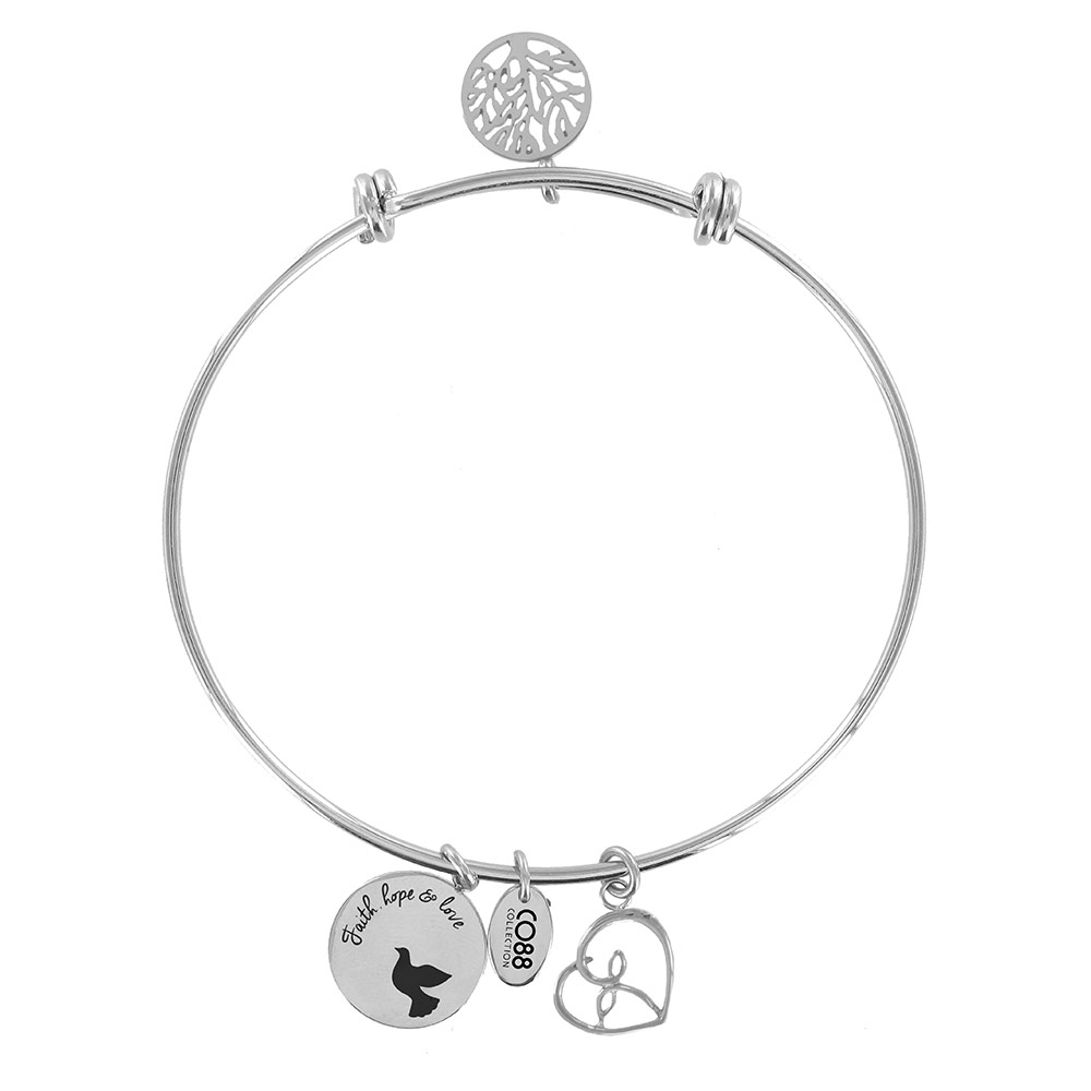 CO88 Armband 'Levensboom-Hart' staal-zilverkleurig, all-size 8CB-11007