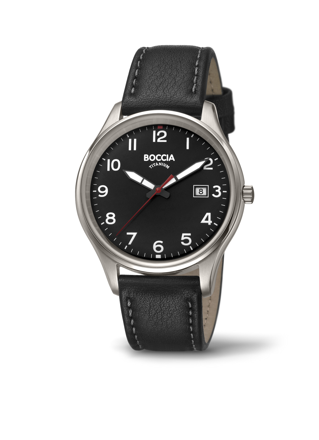 Boccia Titanium 3587.05 horloge Leer Zwart 41,5 mm