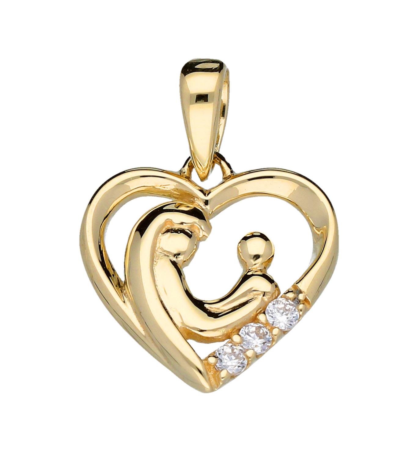 Gouden Hanger 'Lovenotes Familypendant' Hart met 3 zirkonia`s 220.0948.00