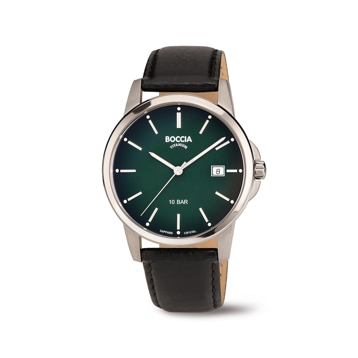 Boccia Titanium 3633.02 horloge Leer Zwart 40 mm