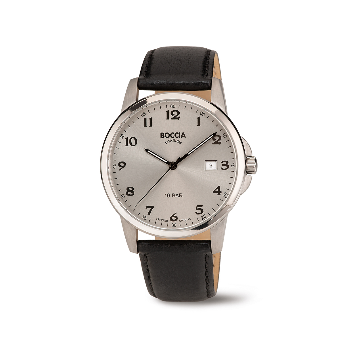 Boccia Ttanium 3633.03 horloge Leer Zwart 40 mm