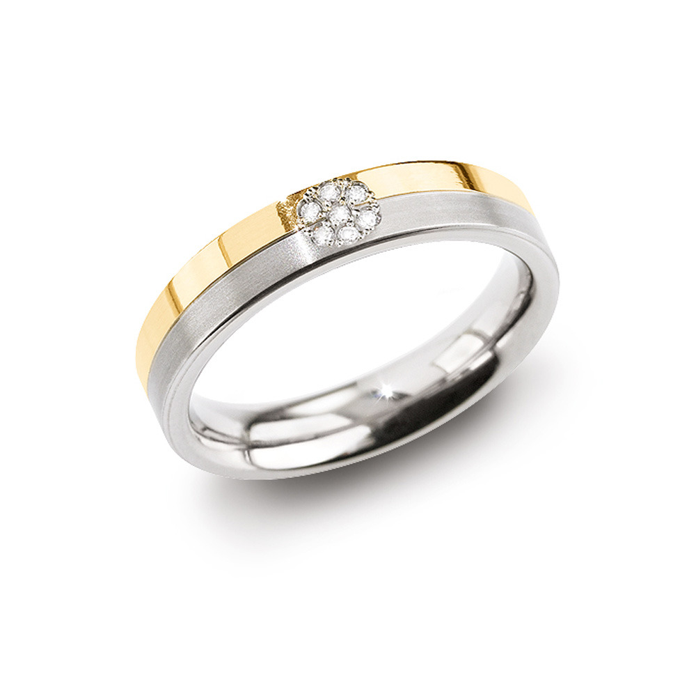 Boccia 0129 06 Ring Titanium Diamant zilver en goudkleurig 4,3 mm 7 * 0,035 crt Maat 52