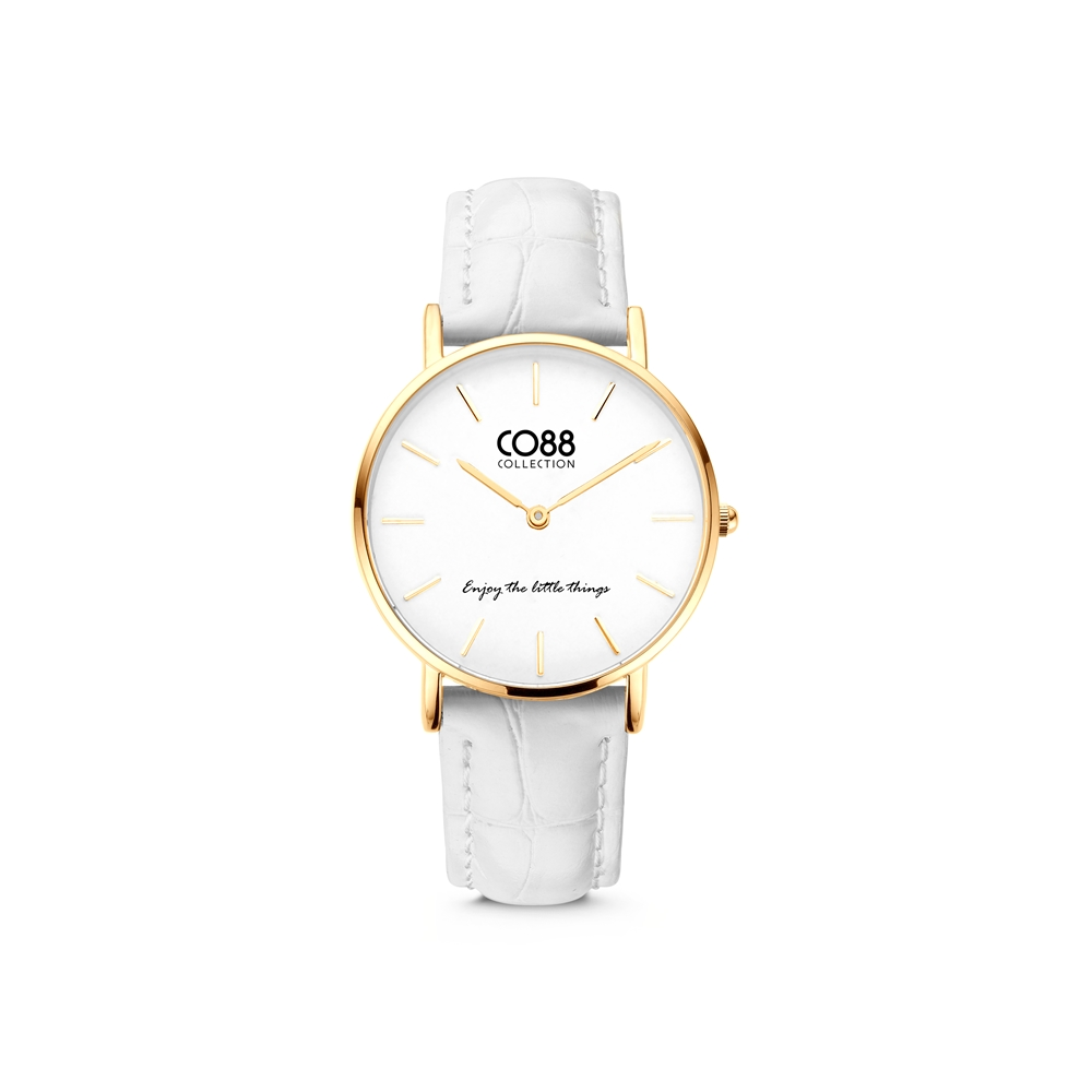 CO88 Collection Watches 8CW 10080 Horloge - Leren Band - Ø 32 mm - Goudkleurig