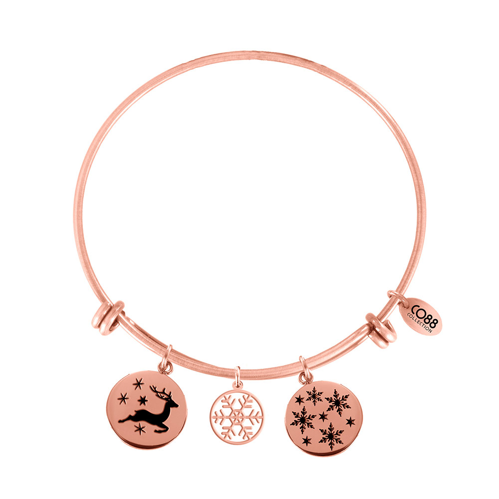 CO88 Armband Bangle 'Rendier/Sneeuwvlokken' staal/rose, one-size 8CB-16004