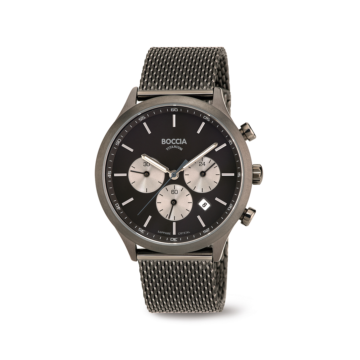 Boccia Titanium 3750.06 horloge Staal Grijs 41 mm