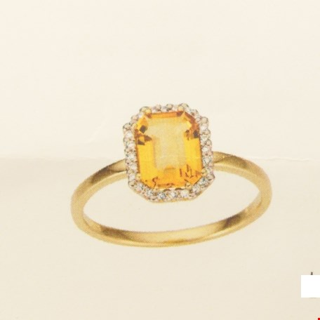 TFT Ring Citrien En Diamant 0.10ct H SI Geelgoud