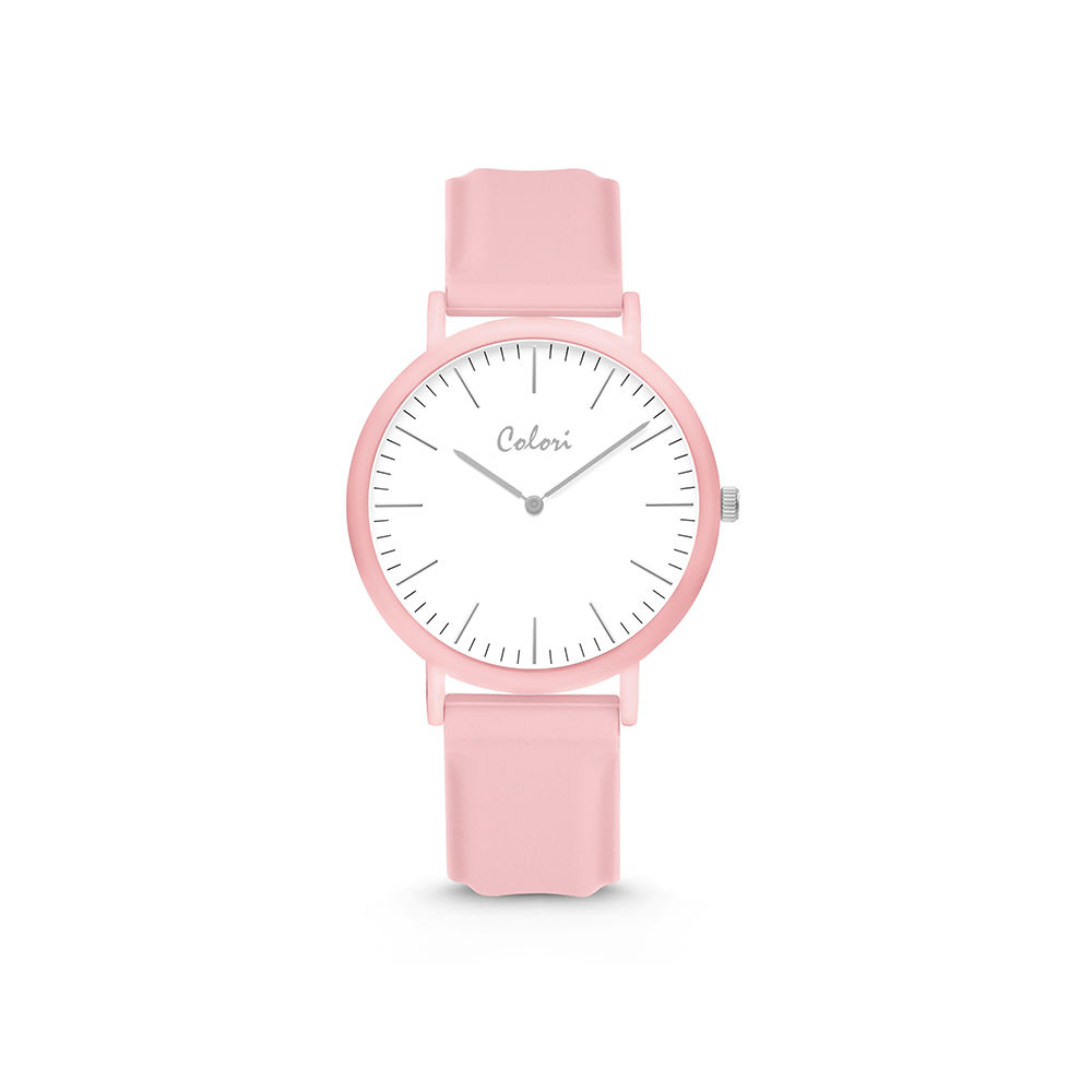 Colori Essentials 5 COL595 Horloge - Siliconen Band - Ø 30 mm - Roze