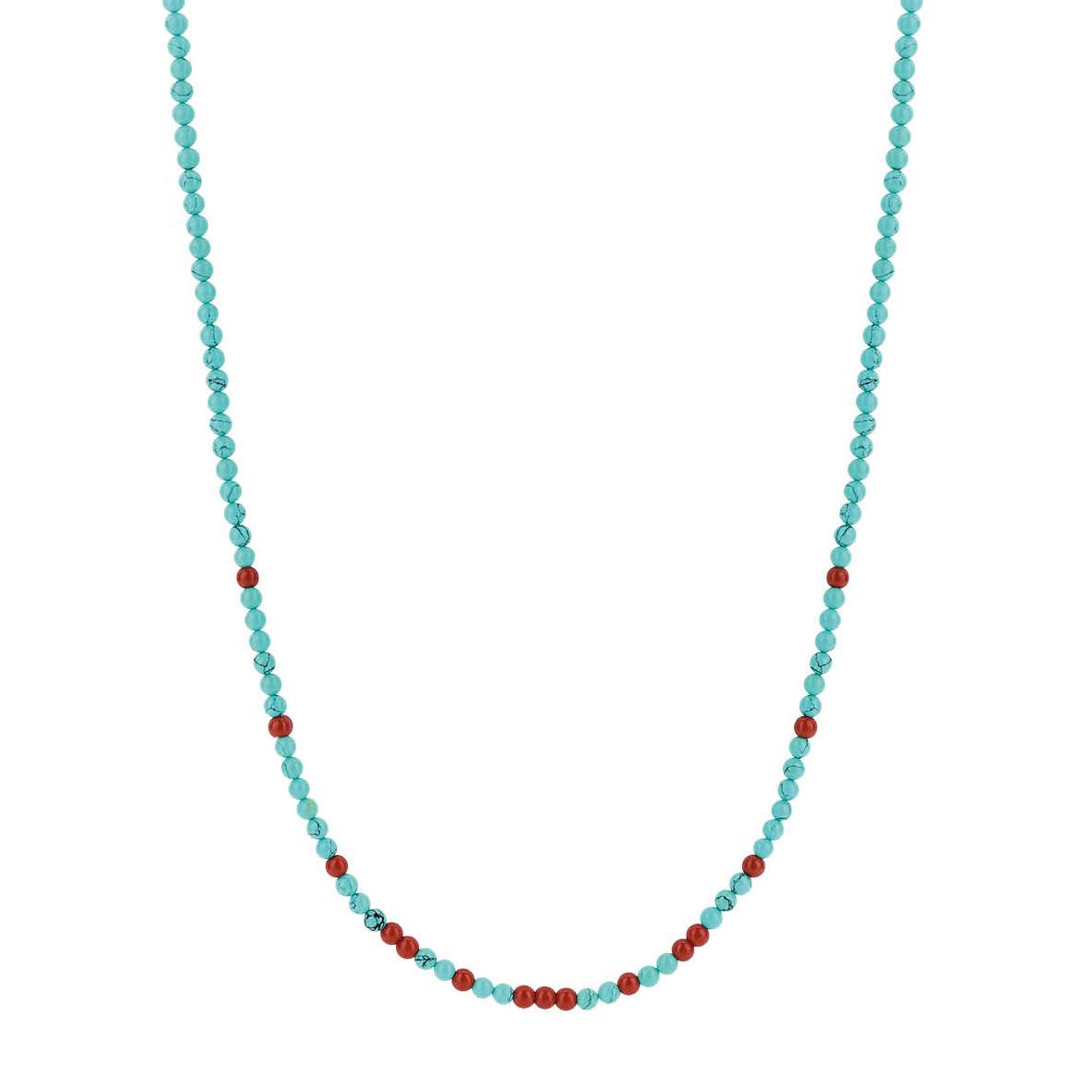 TI SENTO-Milano 3939TQ Ketting zilver turquoise-rood 38-48 cm