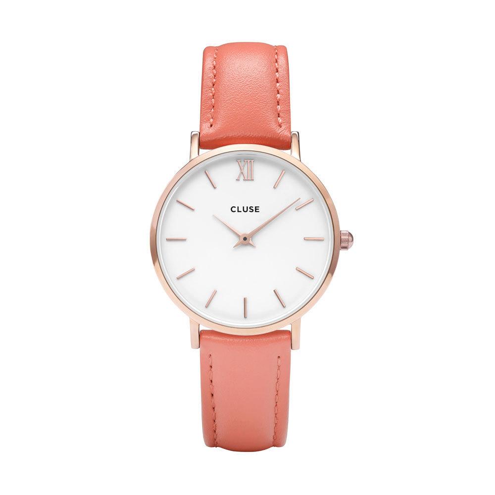 CLUSE CL30045 Horloge Minuit staal/leder rosekleurig-flamingo