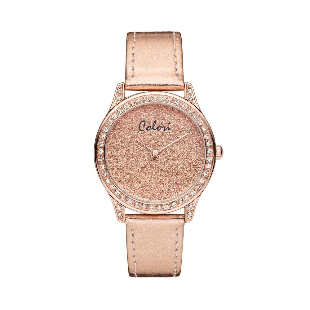Colori Supreme 5 COL381 Horloge leren Band rosekleurig 37 mm