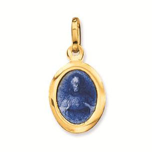 Gouden Scapuliermedaille Religious Blauw Emaille 10 mm 247.0005.10