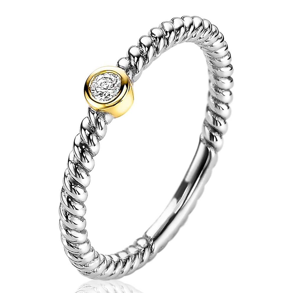 Zinzi ZIR2132 Ring Gedraaid zilver zirconia zilver en goudkleurig Maat 56