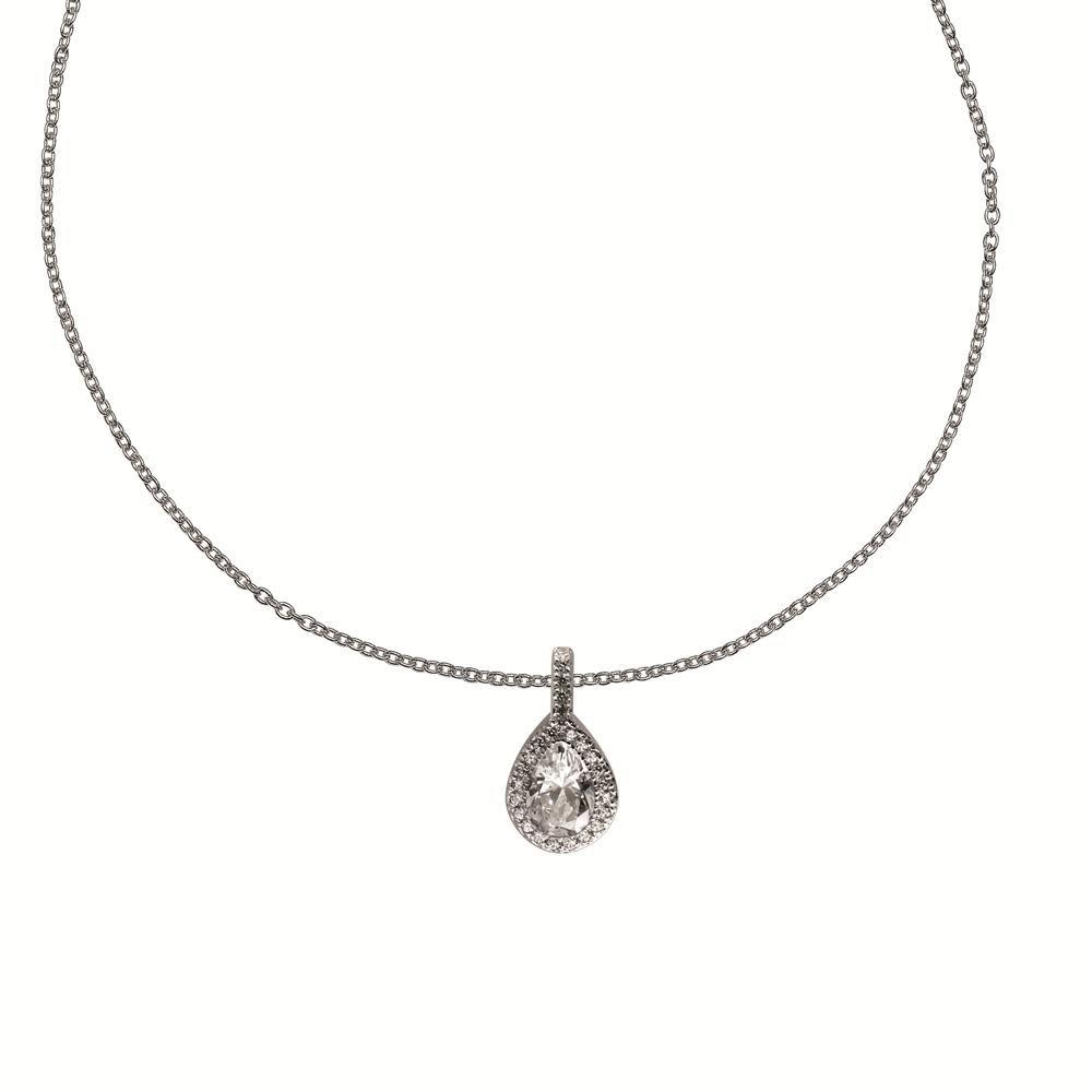 Zilveren Collier met Hanger in Druppelvorm Omrand met zirkonia 45 cm Lang 803.0121.45