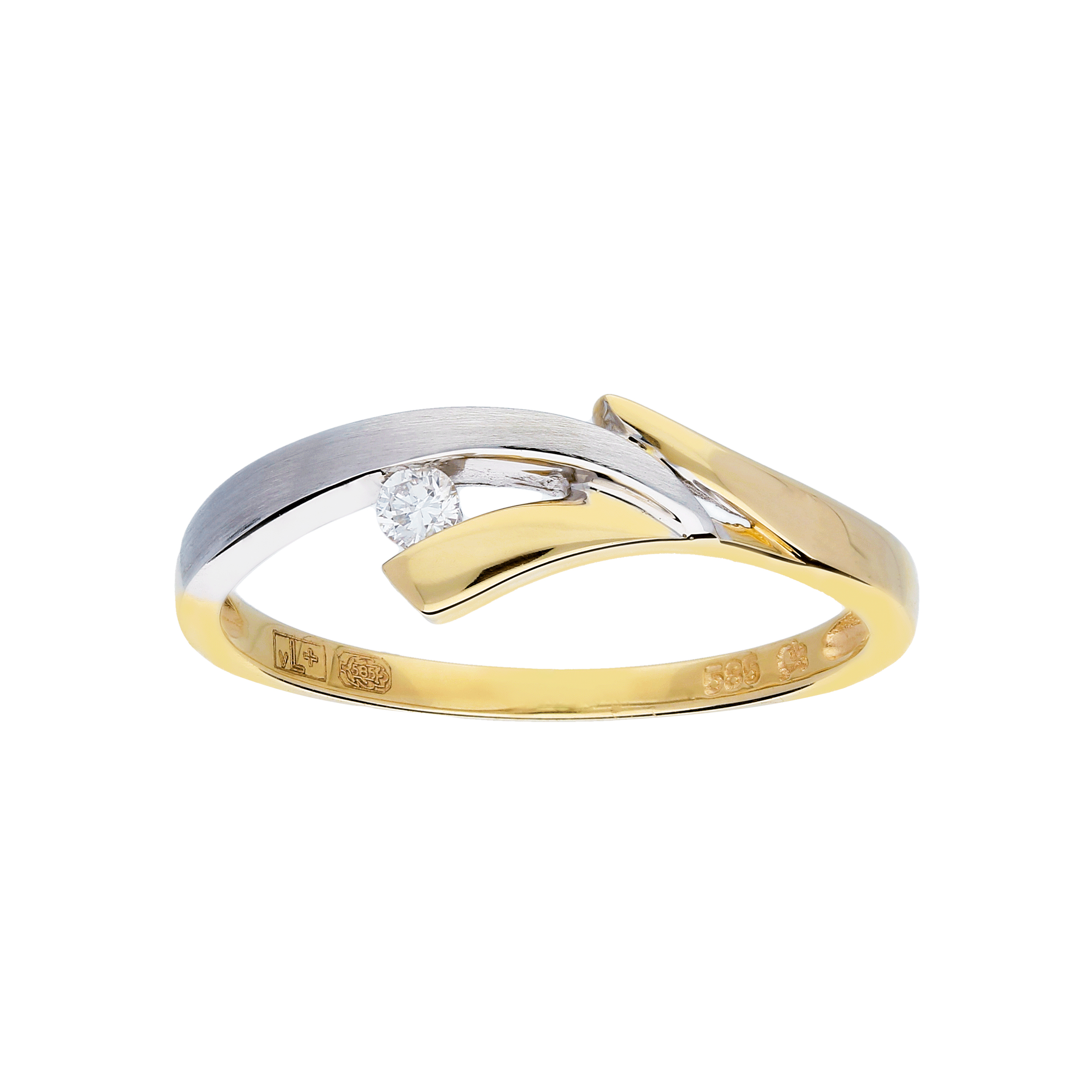 Glow Gouden Ring Bicolor Mat Glanzend Diamant 1 0.04ct G si 214.5251.54