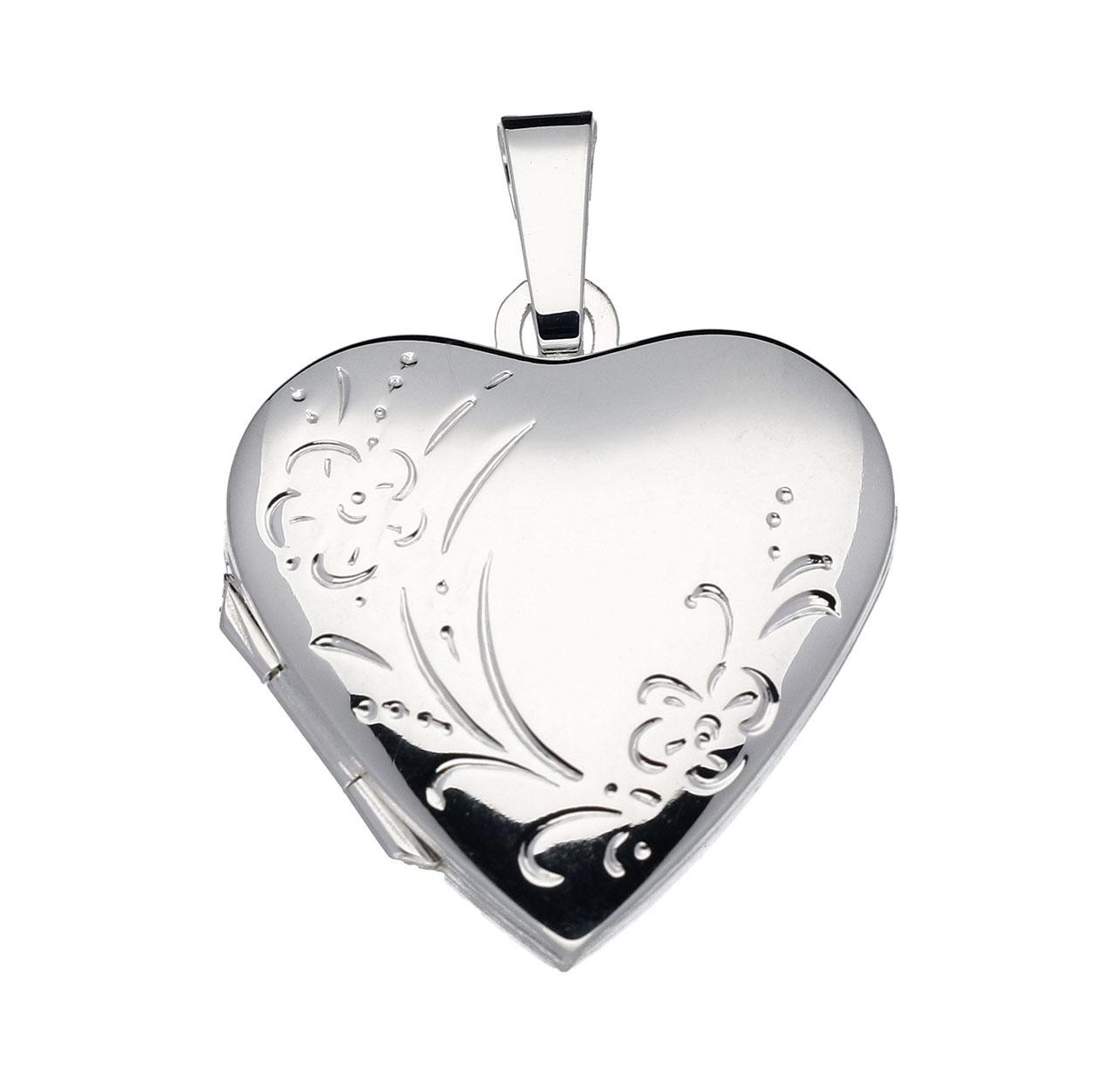 Zilveren Medaillon Hart met Bloemgravure 21,5 mm 145.0035.00
