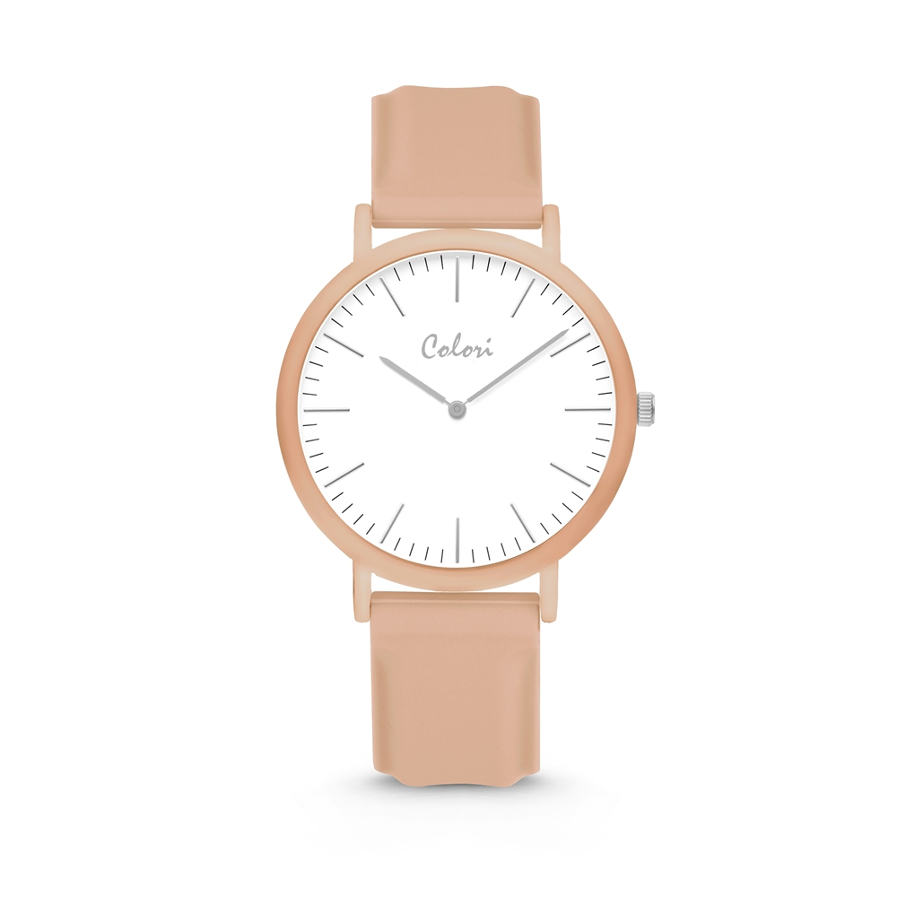 Colori Essentials 5 COL584 Horloge - Siliconen Band - Ø 40 mm - Beige