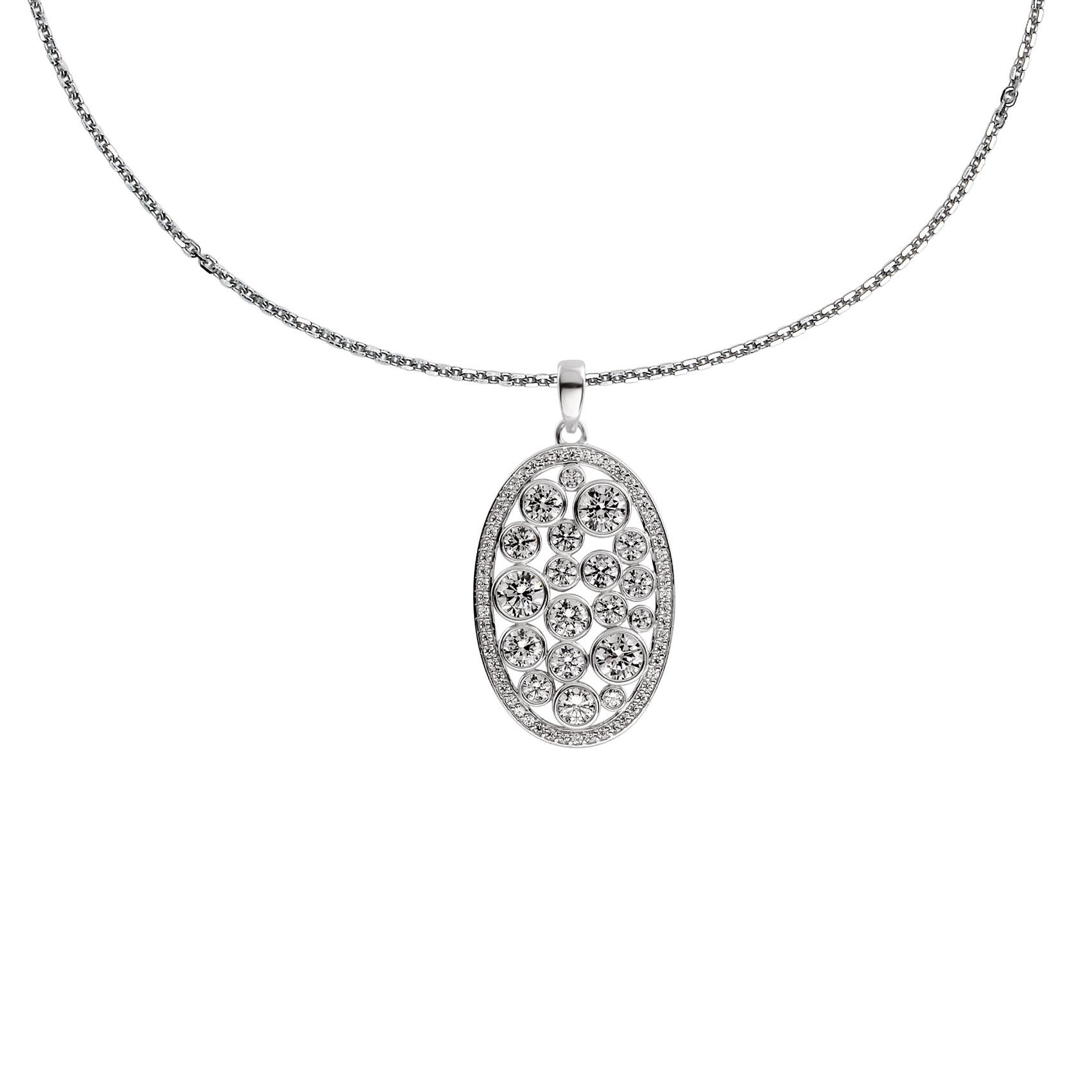 Afbeelding van Diamonfire Collier zilver met Ovale hanger Vintage bewerkt zirkonia 60 cm lang 803.0334.60