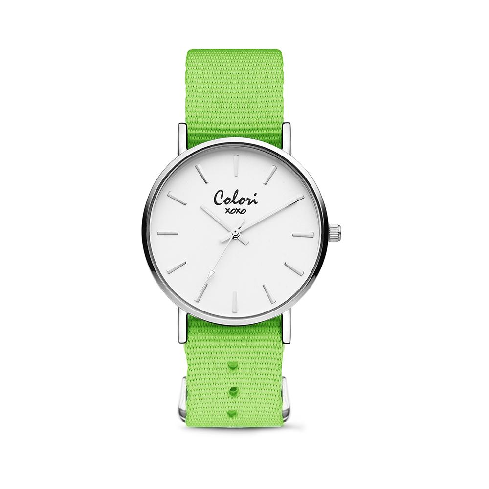 Colori XOXO 5 COL549 Horloge geschenkset met Armband - Nato Band - Ø 36 mm - Groen - Zilverkleurig
