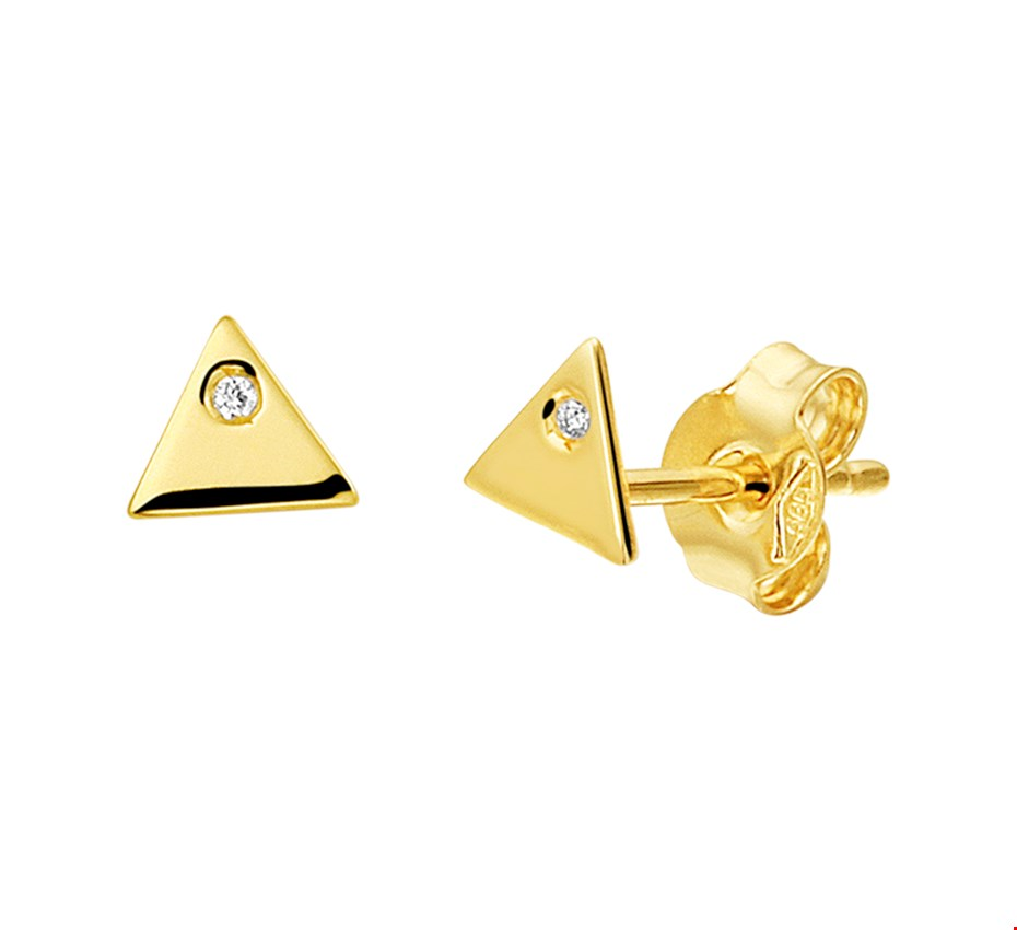 TFT Oorknoppen Driehoek Diamant 0.010ct(2x0.005ct)H SI Geelgoud Glanzend 4.5 mm x 5 mm