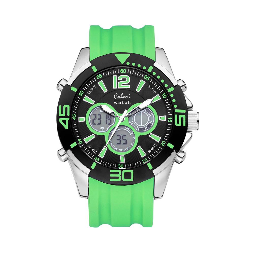 Colori Urban 5 CLD067 Digitaal Horloge - Siliconen Band - Ø 47 mm - Mint Groen