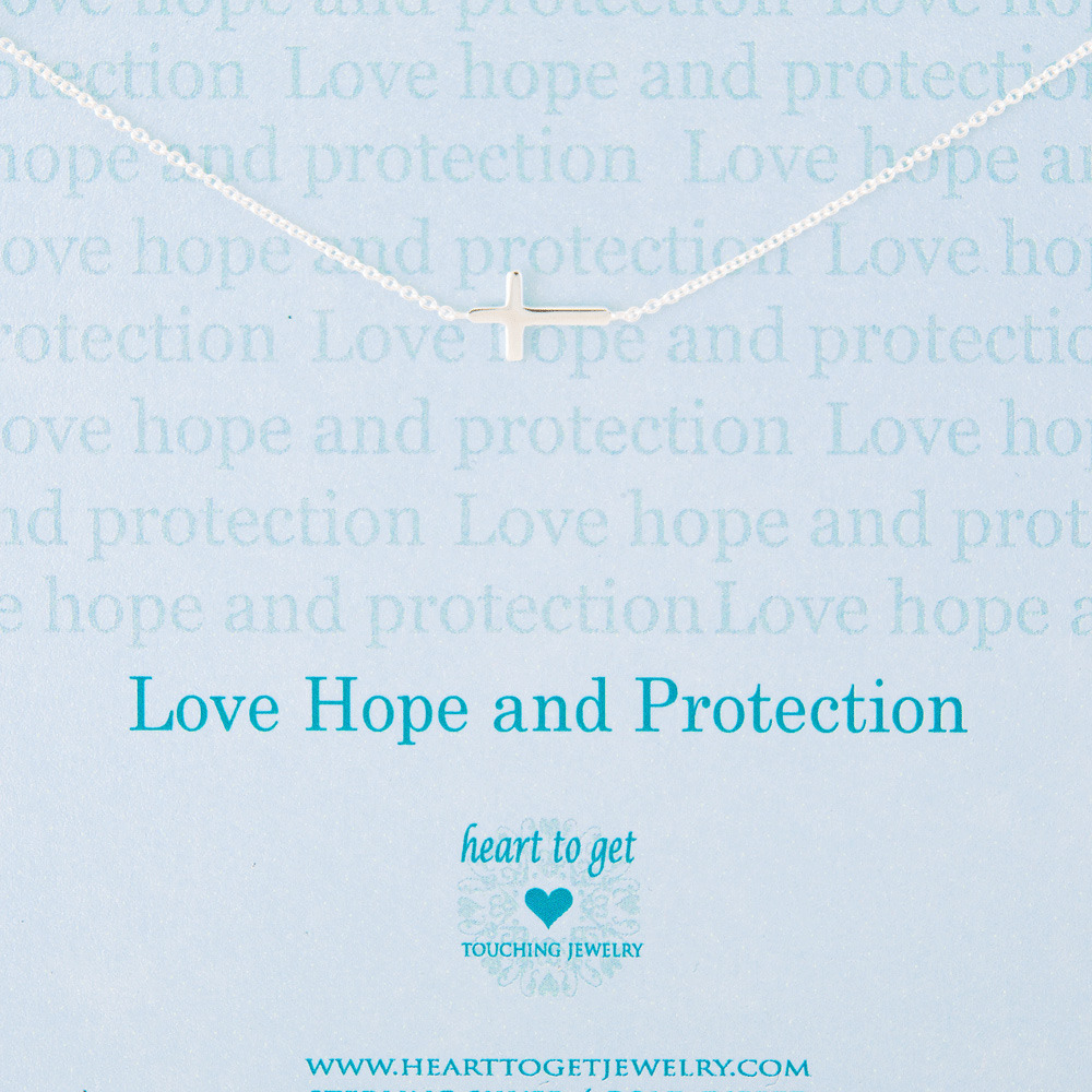 Heart to Get N11CRO11S-2 Ketting zilver Love hope and protection